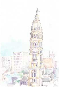 water color of Philadelphia City Hall