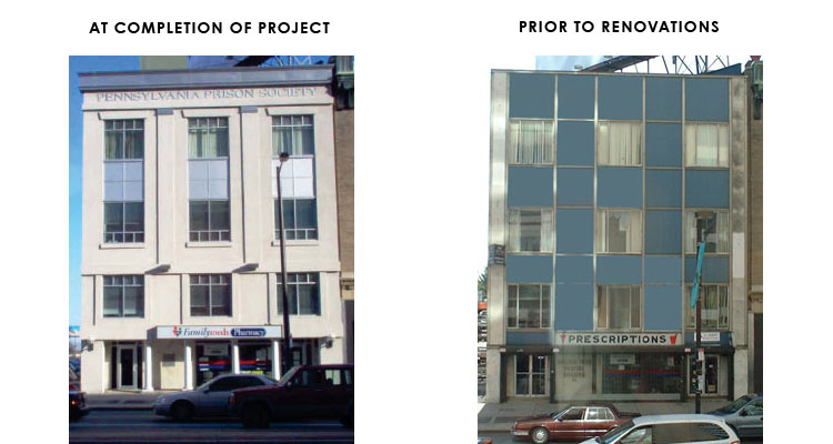 exterior space at completion and prior to renovations